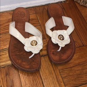 USED and OLD Tory Burch white flower sandals